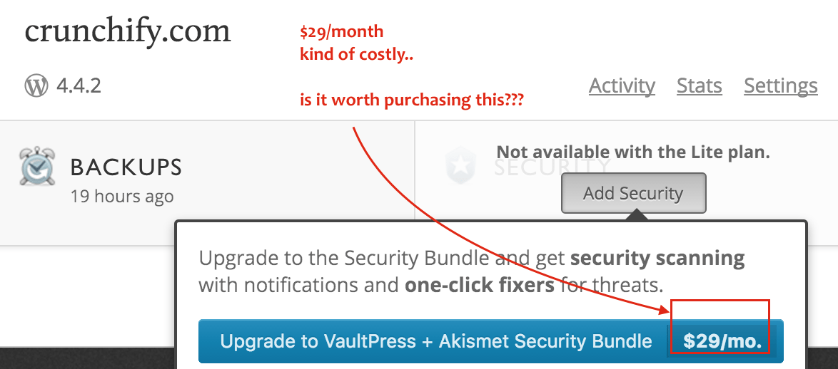 VaultPress Security Package starts from 29 per month