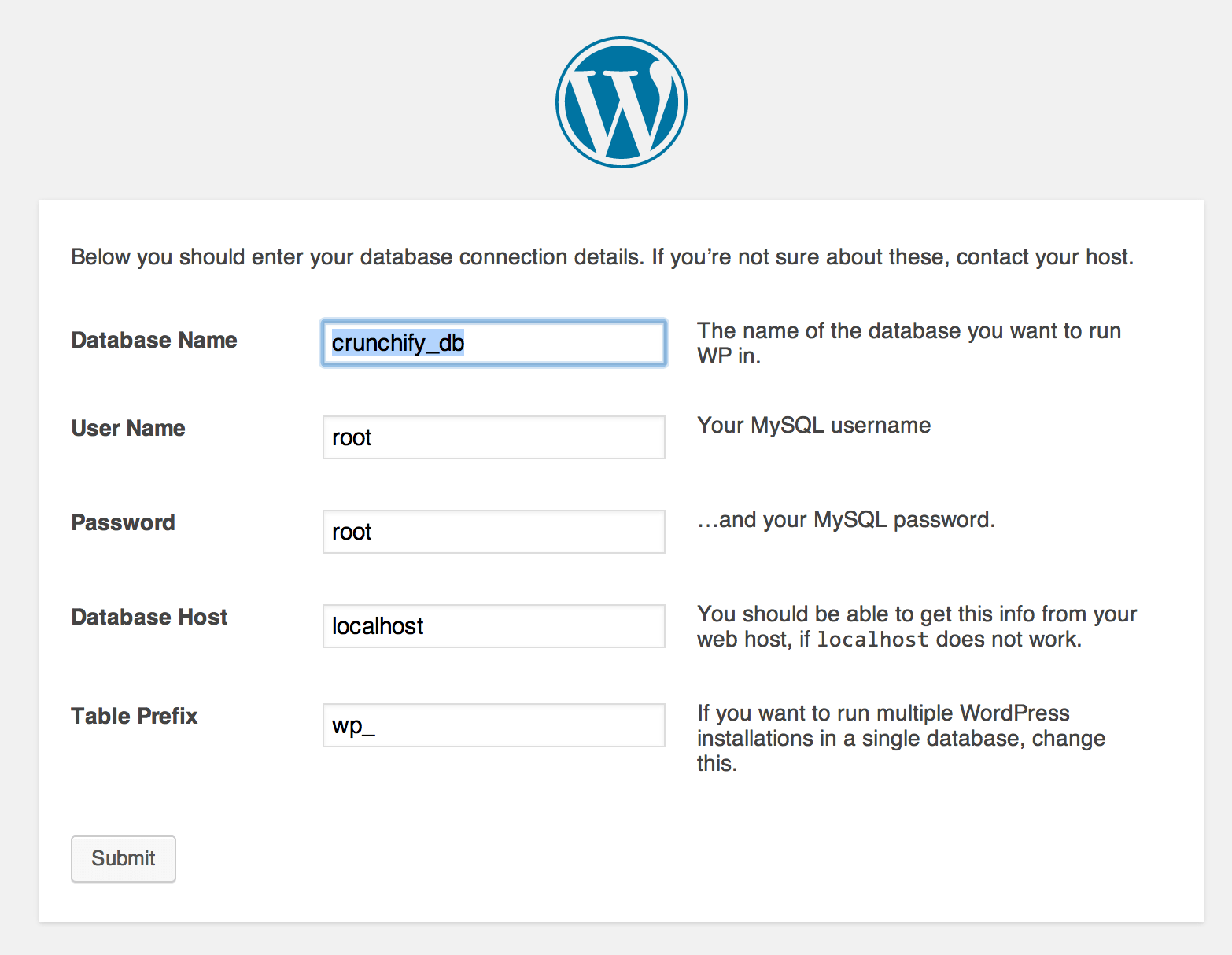 WordPress Installation - Provide Database information
