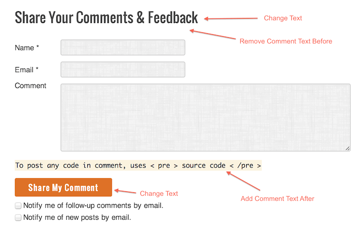 Change Default Comment Form WordPress - Genesis 2.0 - HTML5