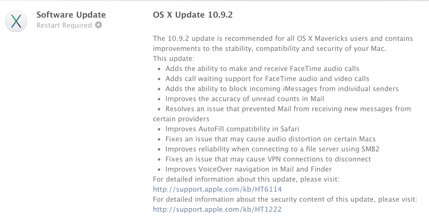 Apple Just Released OS X 10.9.2 Mavericks Update includes Facetime Audio - Crunchify