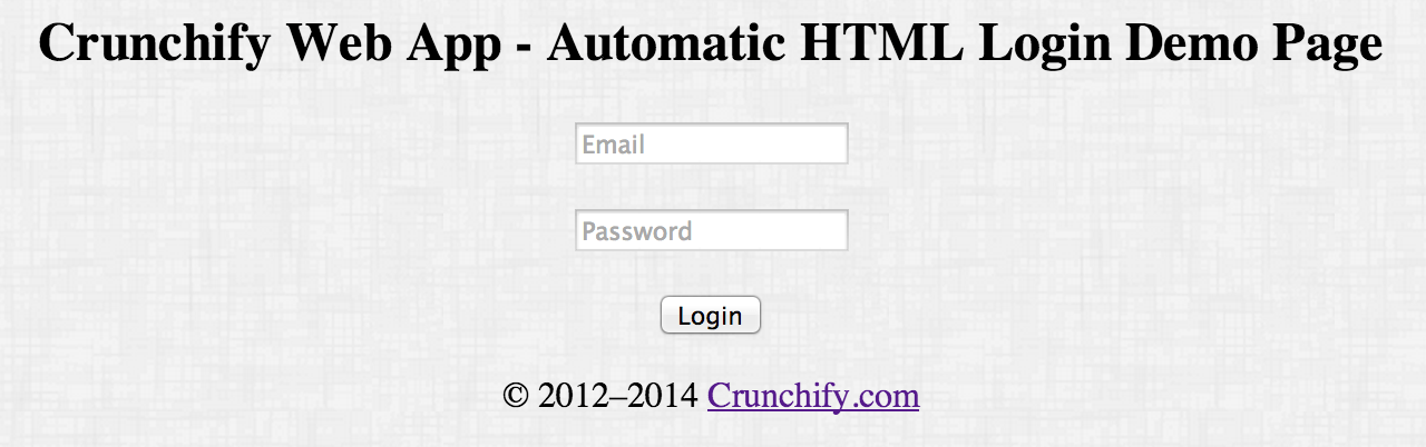 Crunchify.Username-Email-Password demo page example