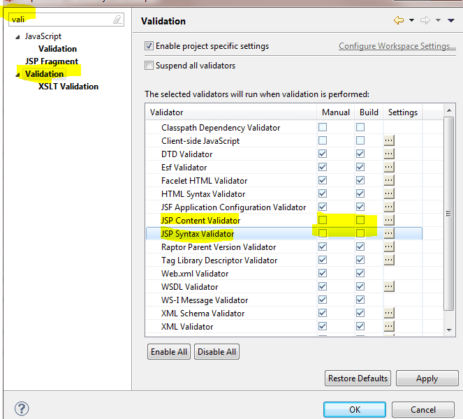 How to exclude JSP file validation in Eclipse?