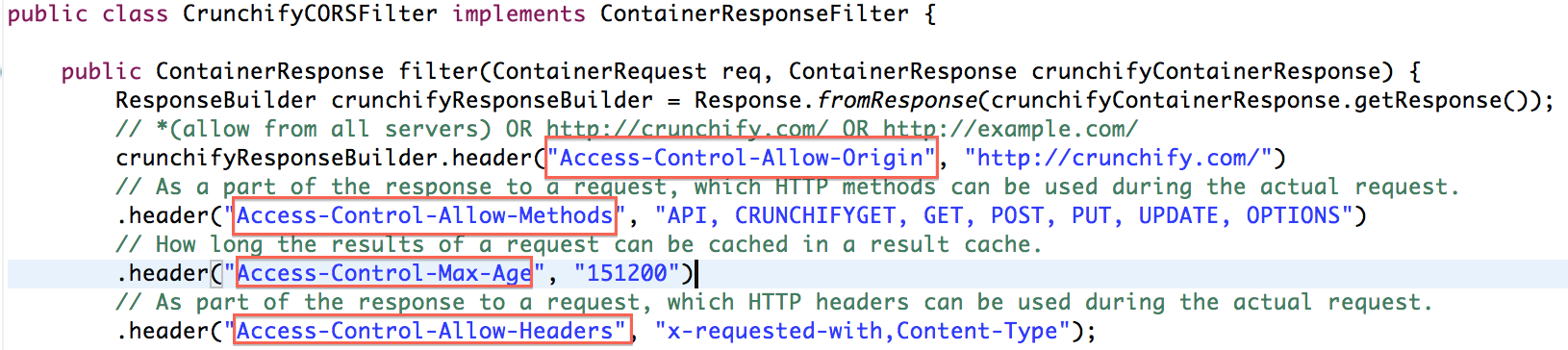 Crunchify CORSFilter Jersey Server Example