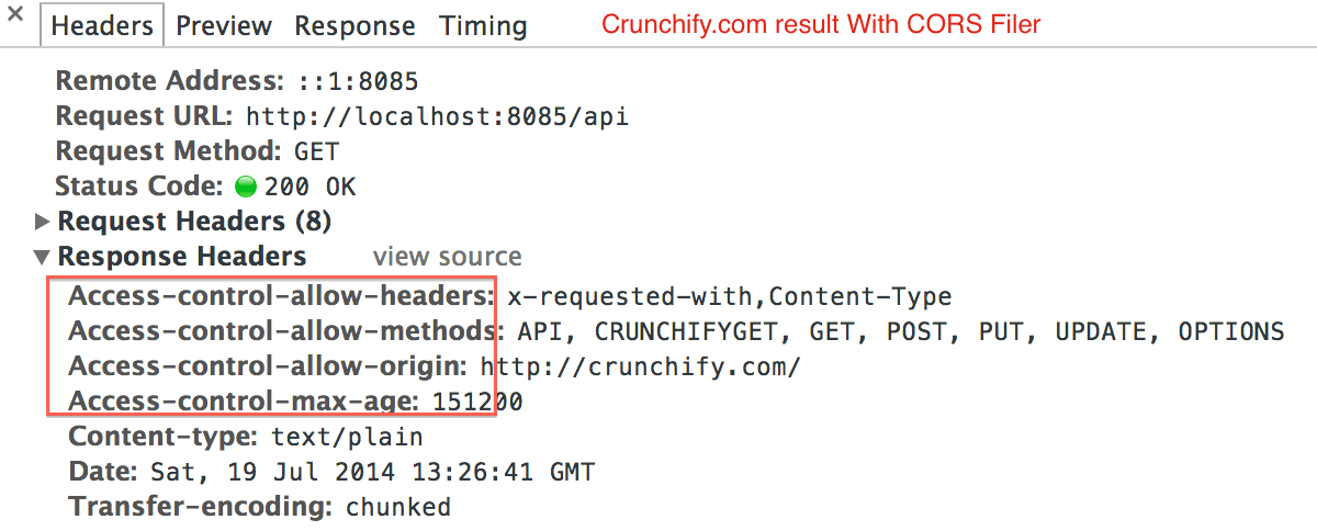 Crunchify Response Header With CORS Filter