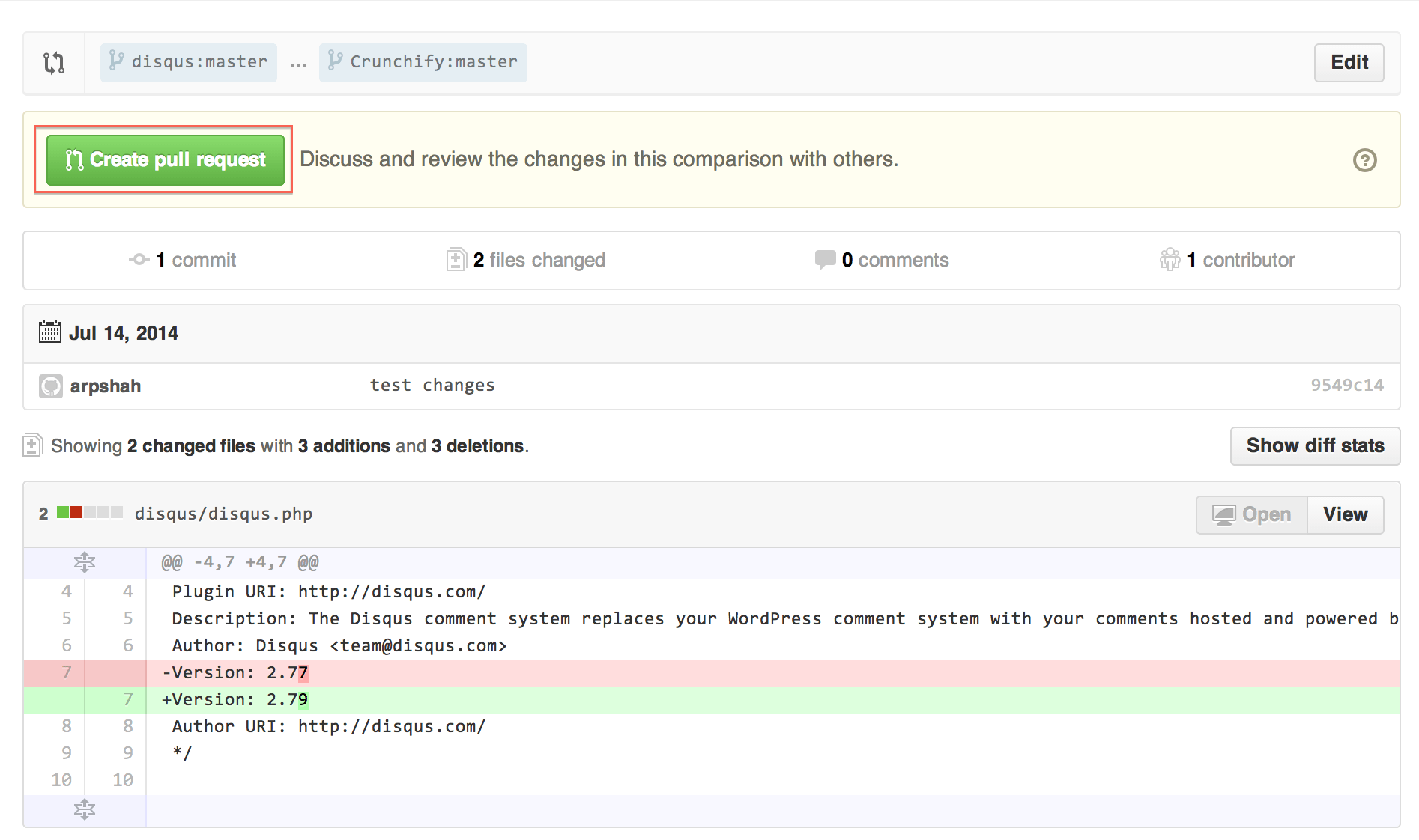 Github Pull Request Screen