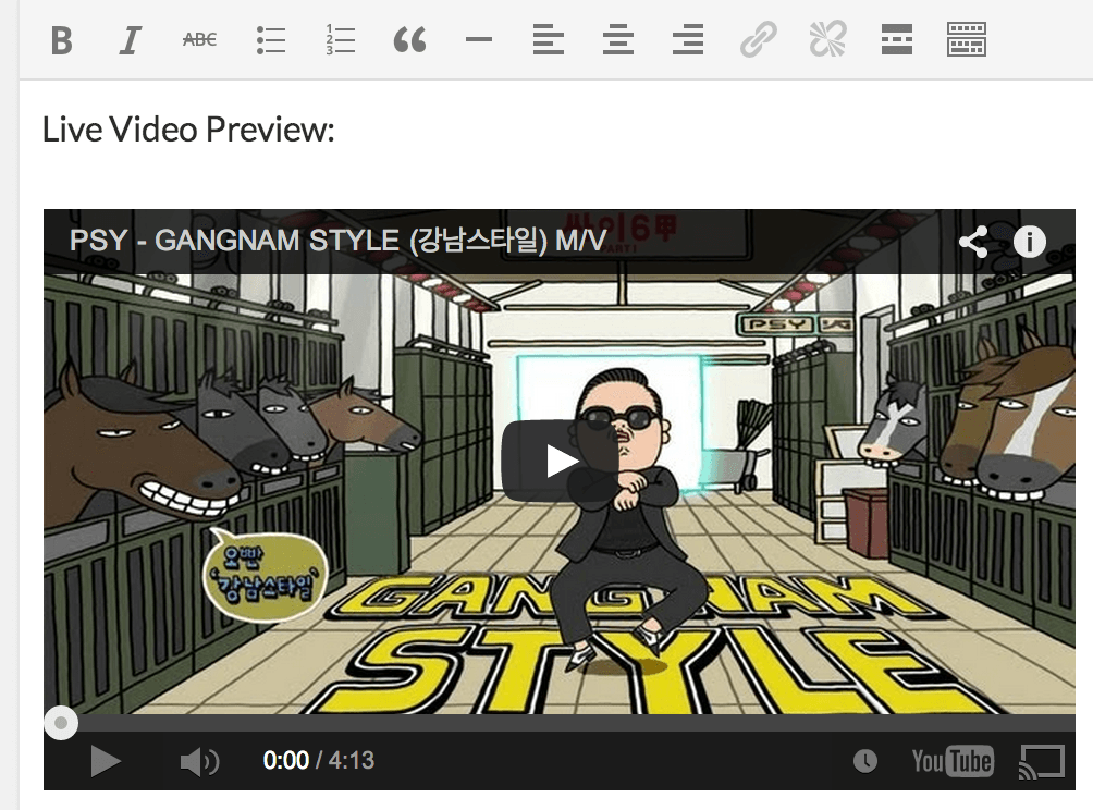 Live Video Preview in WordPress 4.0