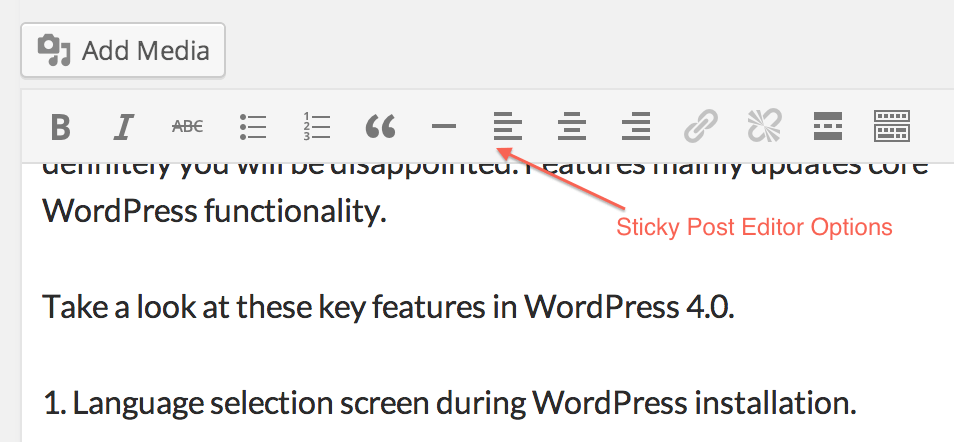 Sticky Post Editor in WordPress 4.0