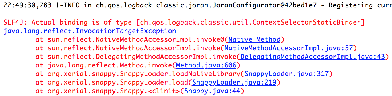 java.lang.reflect.InvocationTargetException Error for Snappy-Java