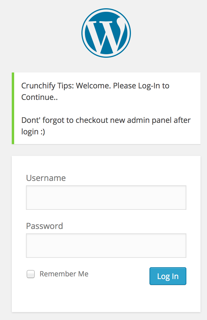 Custom WordPress Login Message - Crunchify Tips
