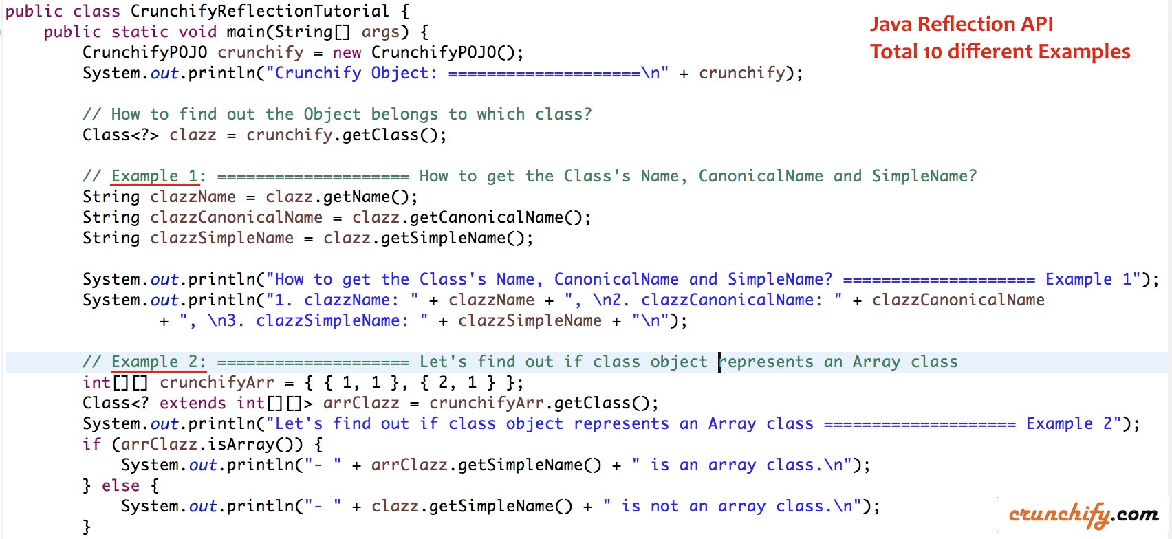 Java Reflection API Examples - Total 10 Examples- Crunchify Tips