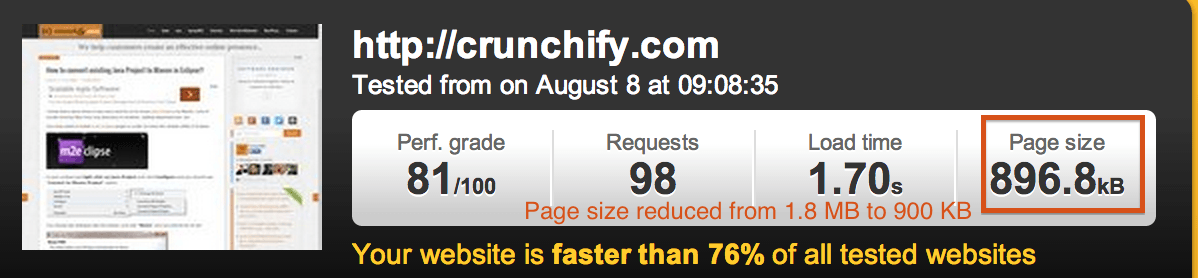 Pingdom Crunchify Test - Page size reduced