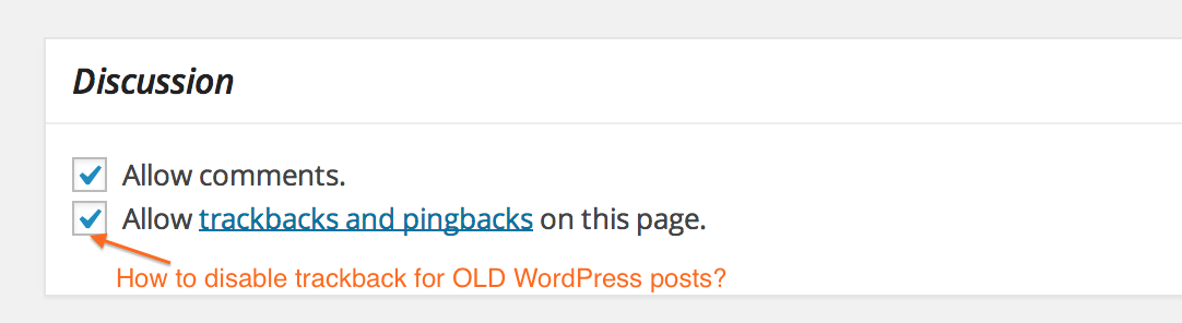 Trackback Option for WordPress Post
