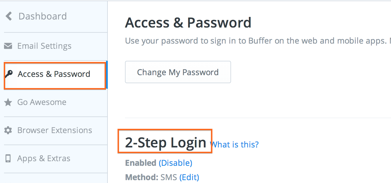 BufferApp - 2 Steps Authentication