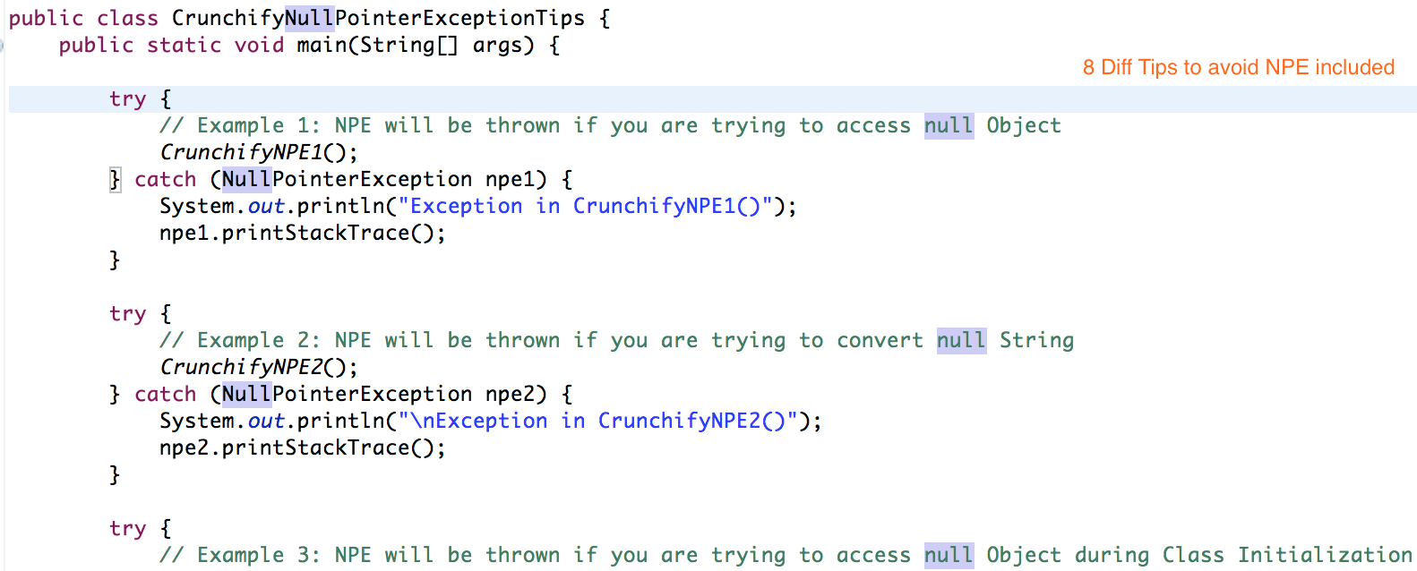 Crunchify's tip on Avoid Null Pointer Exception