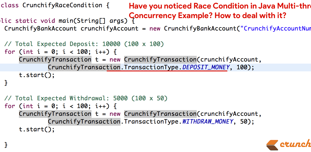 Have you noticed Race Condition in Java Multi-threading Concurrency Example? How to deal with it?