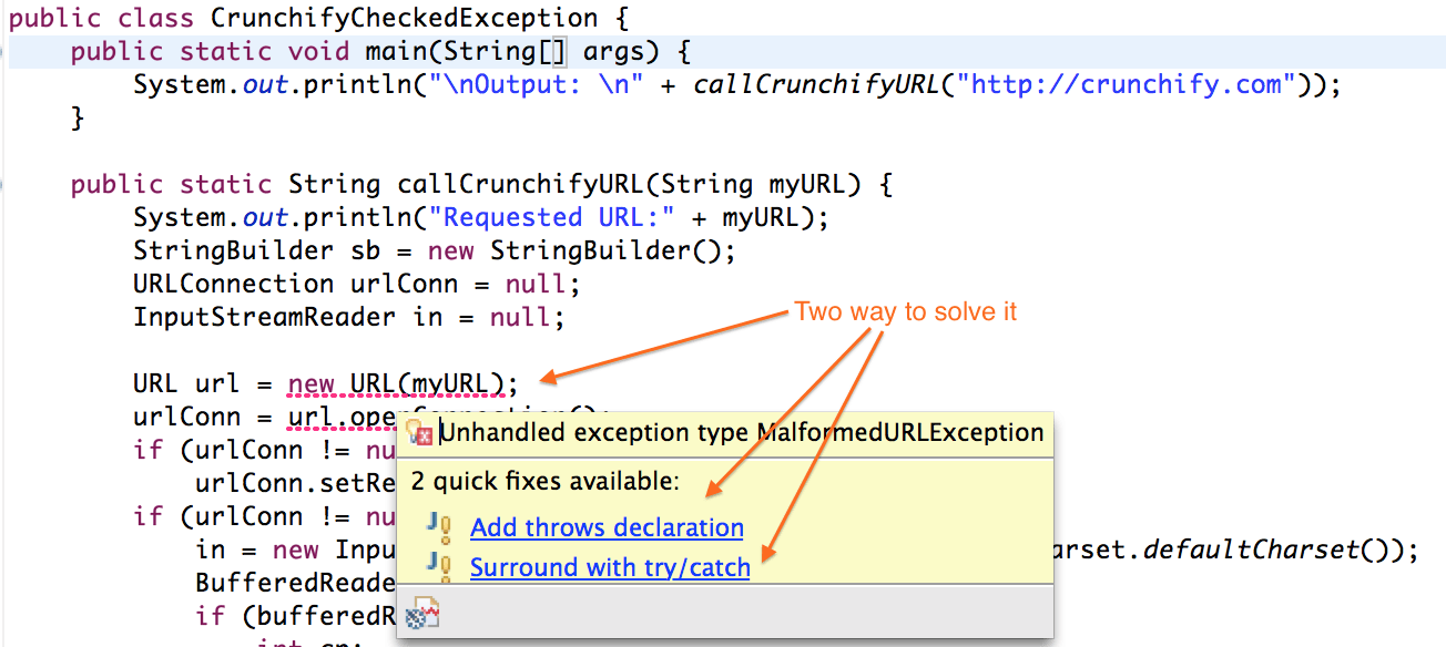 Java Checked Exception by Crunchify