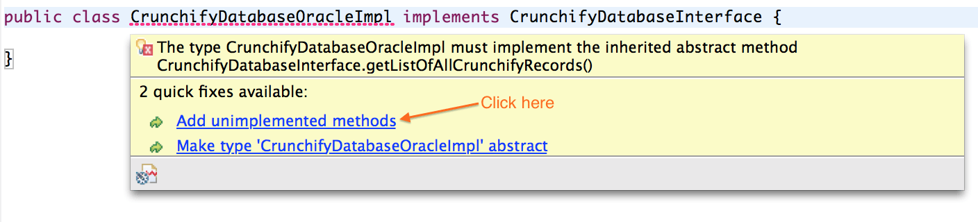 Java Interface - Add unimplemented methods
