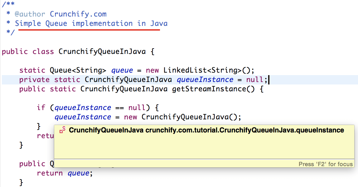 How to Create Singleton QUEUE Global Object – FIFO (First in First Out) in Java?