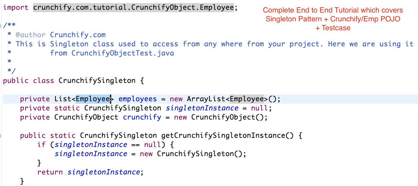 Crunchify Singleton Patter - Complete End to End Tutorial