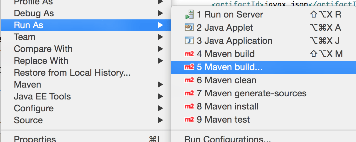 Maven Build Option in Eclipse