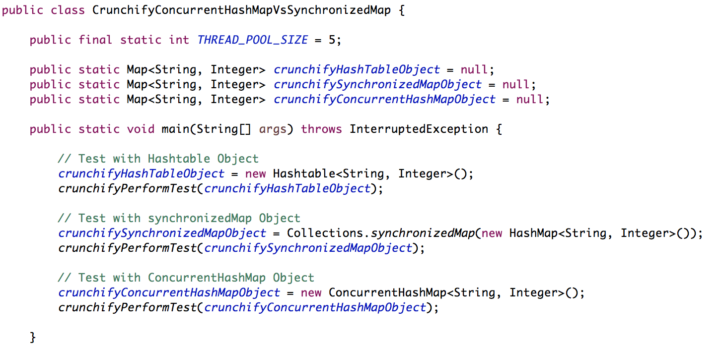Crunchify ConcurrentHashMap Vs. SynchronizedMap Example