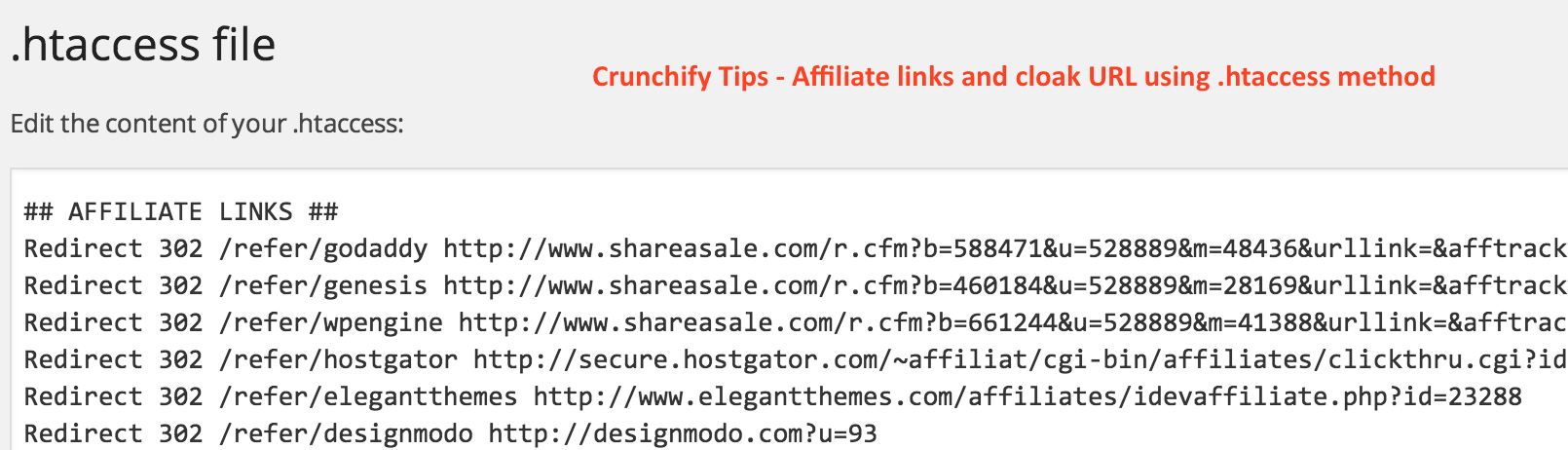 Crunchify Tips - Affiliate links and cloak URL using htaccess method