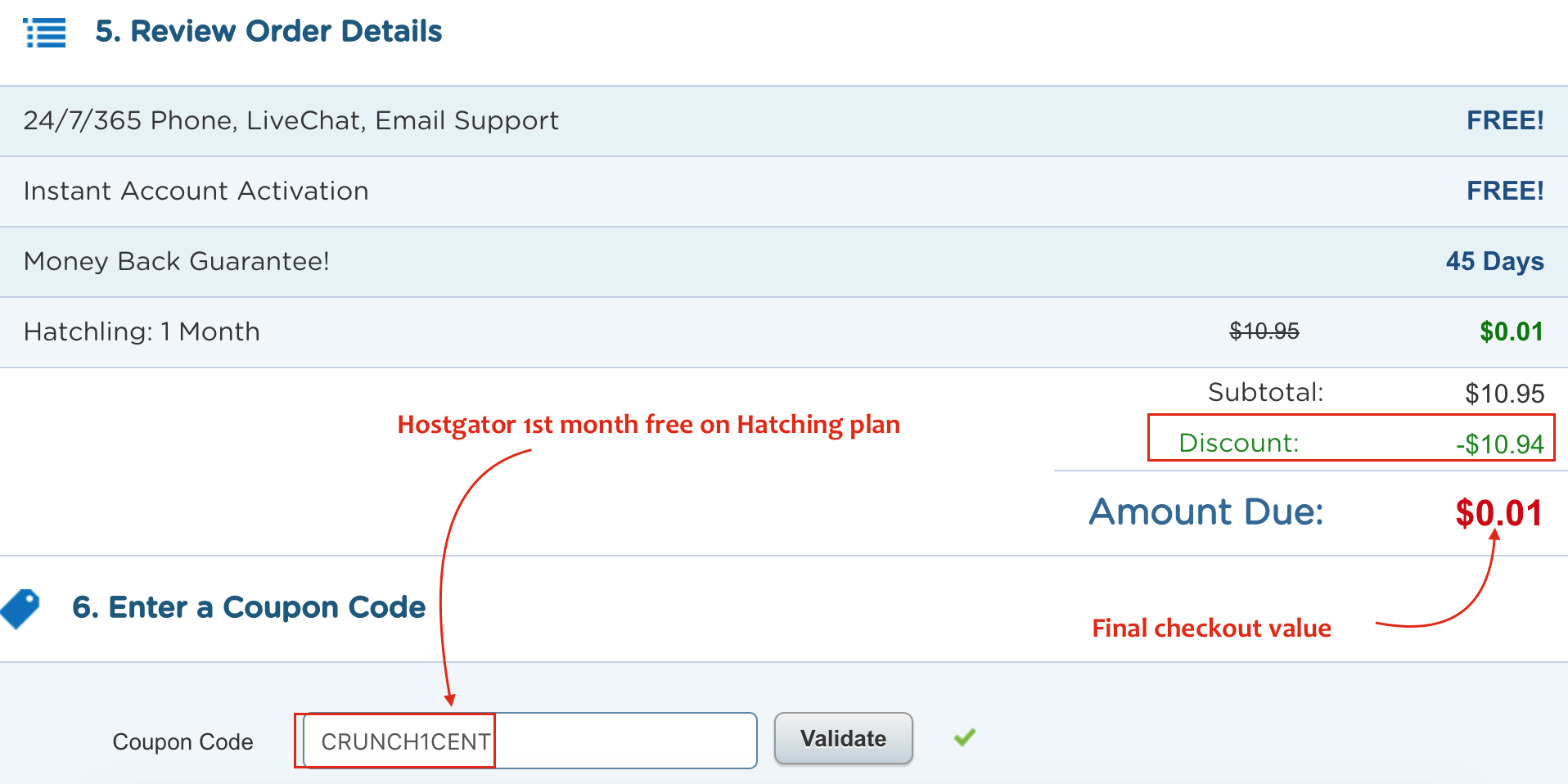 Hostgator 1st month free on Hatching plan