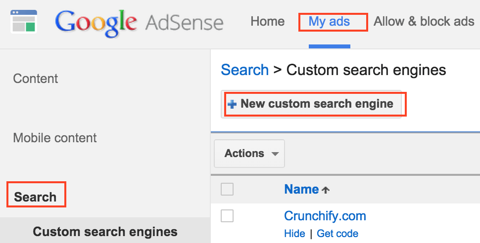 Create New custom search engine - Google Adsense