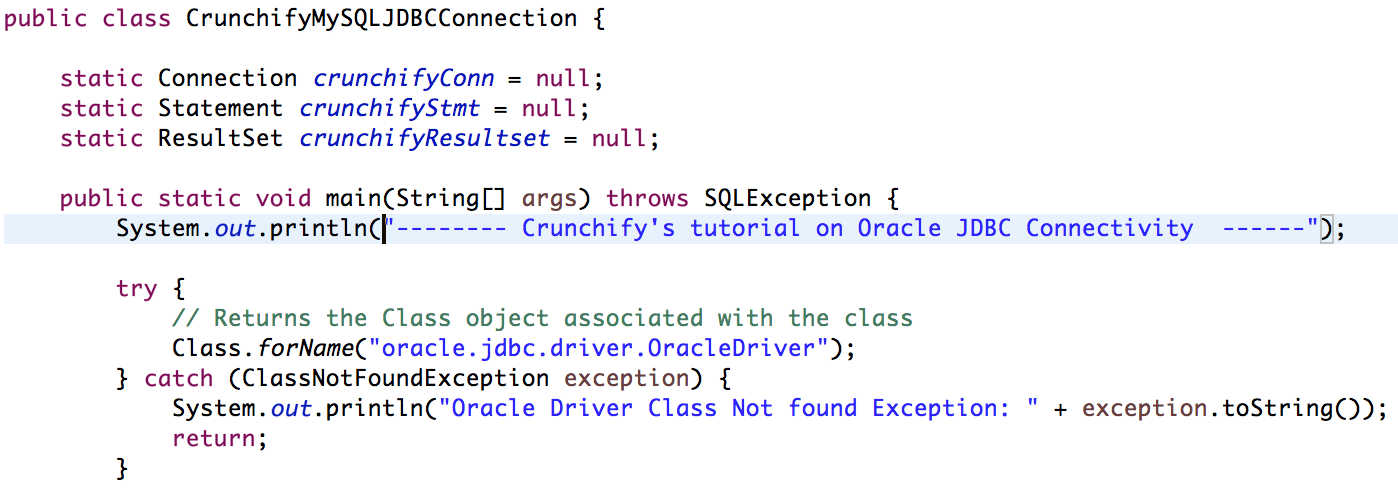 Java JDBC Connect and query Example by Crunchify