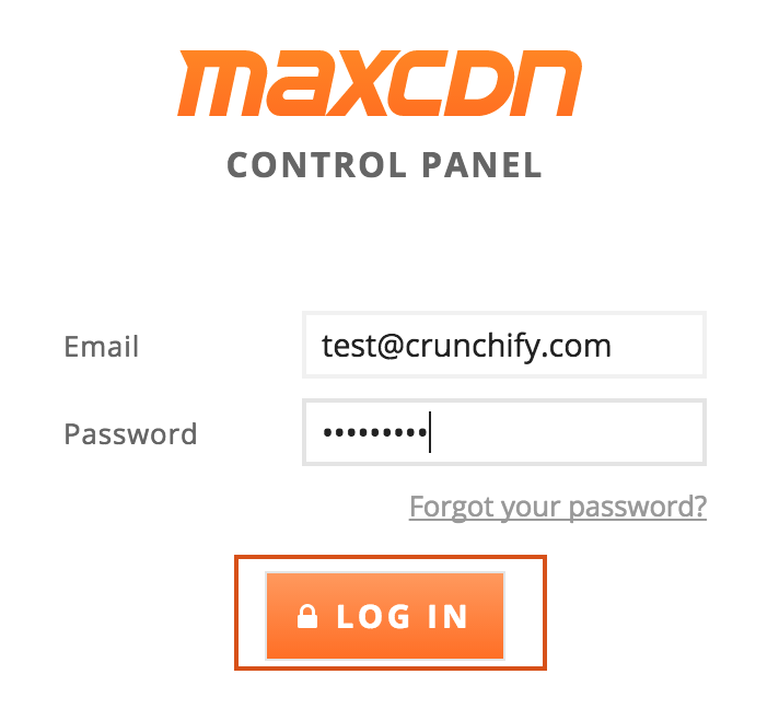 Login to MaxCDN control Panel