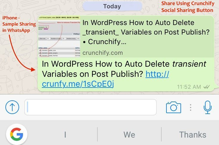 Sample WhatsApp Sharing WordPress Post - Crunchify Tips
