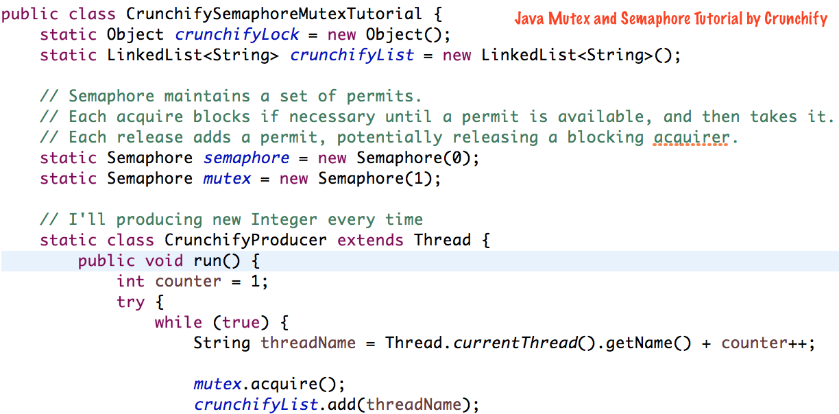 Java Mutex and Semaphore Tutorial by Crunchify