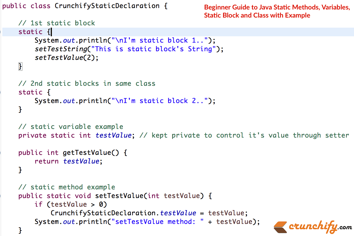 beginner guide to java static methods variables static block and do you have any of below questions