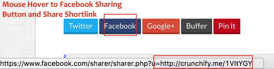 Mouse Hover to Facebook Sharing Button and Share Shortlink