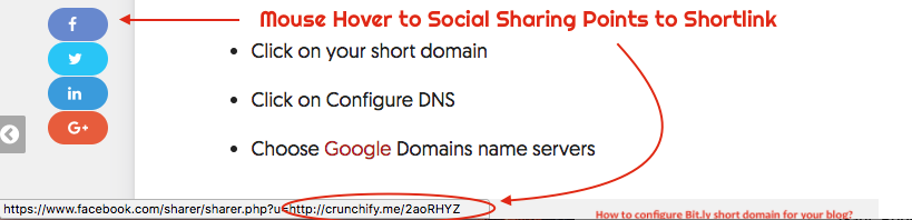 Mouse Hover to Social Sharing Points to Shortlink