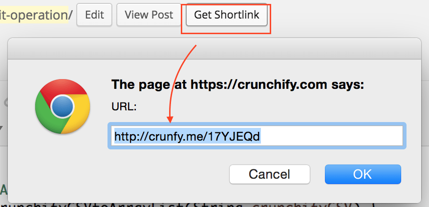 View Shortlink option in Post Edit Admin Panel