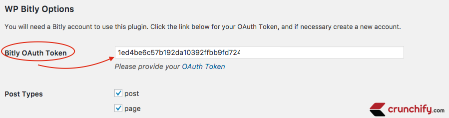 WPBitly Provide Bitly Auth Token - Crunchify Tips