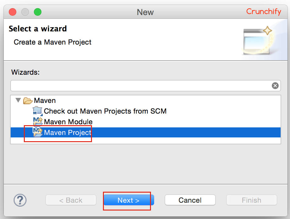 Start Creating new Maven Project inside Eclipse