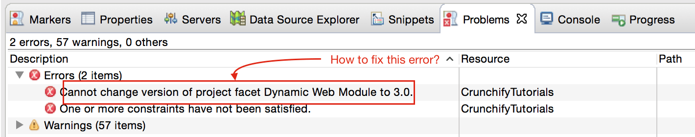 Cannot change version of project facet Dynamic Web Module to 3.0