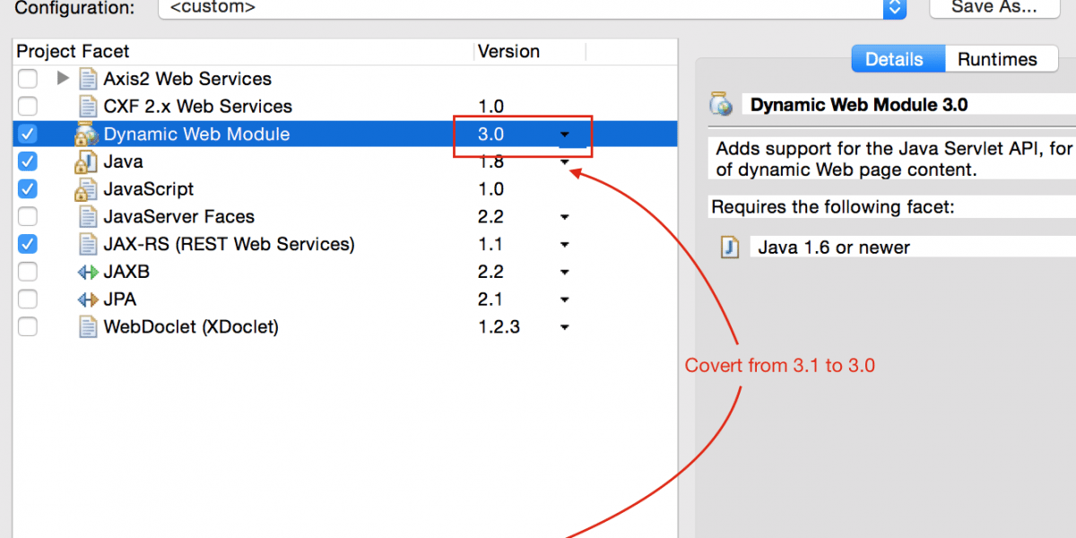 How to fix Cannot change version of project facet Dynamic Web Module to 3.0 Error in Eclipse