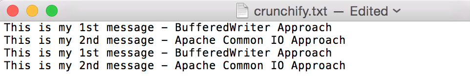 File append example result - crunchify
