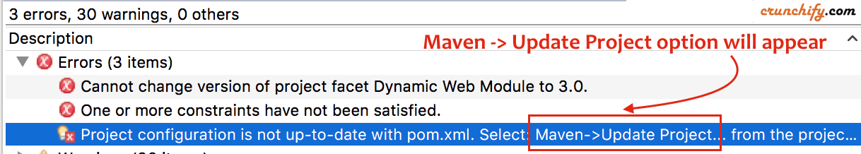 Maven Update Project in Eclipse - Crunchify