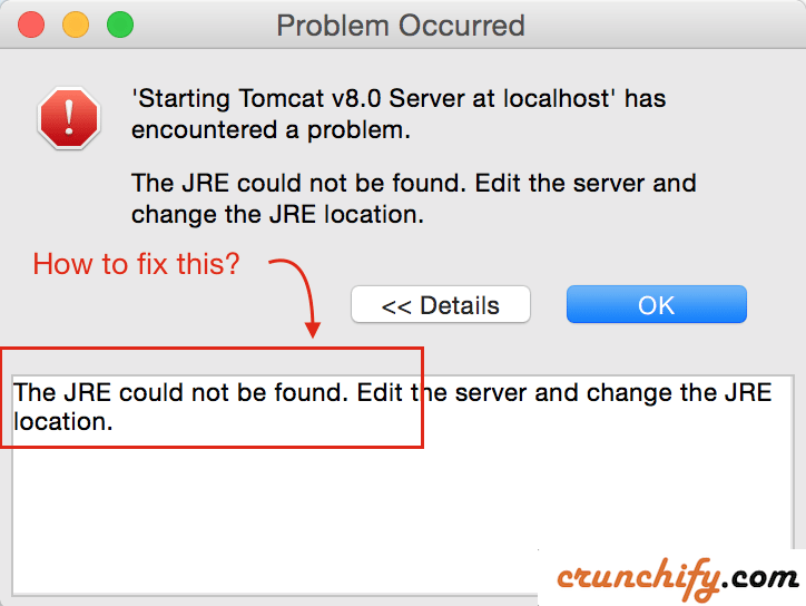 Apache Tomcat JRE could not be found error