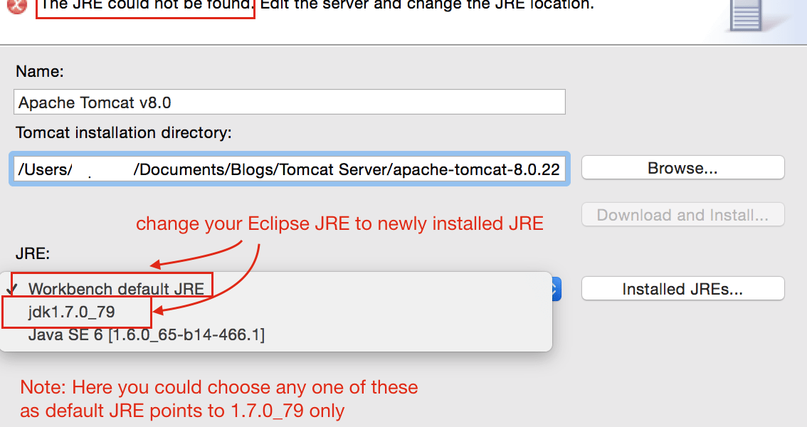 Error Starting Apache Tomcat server? The JRE could not be found. Edit the server and change the JRE location