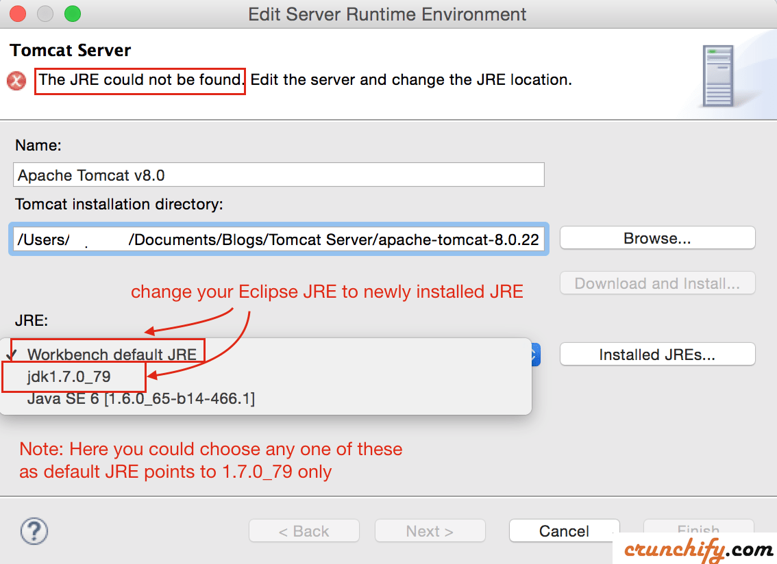 Change JRE for Apache Tomcat Runtime Environment - Crunchify Tips