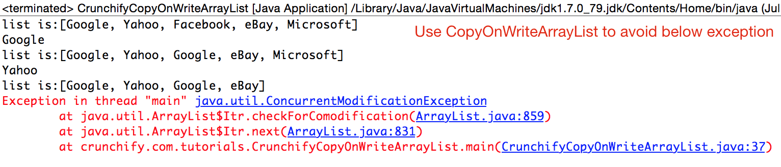 CopyOnWriteArrayList to avoid java.util.ConcurrentModificationException