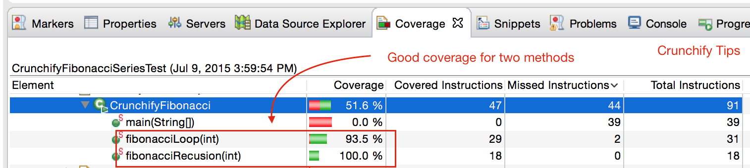 Eclipse Code Coverage Tab - Crunchify Tips