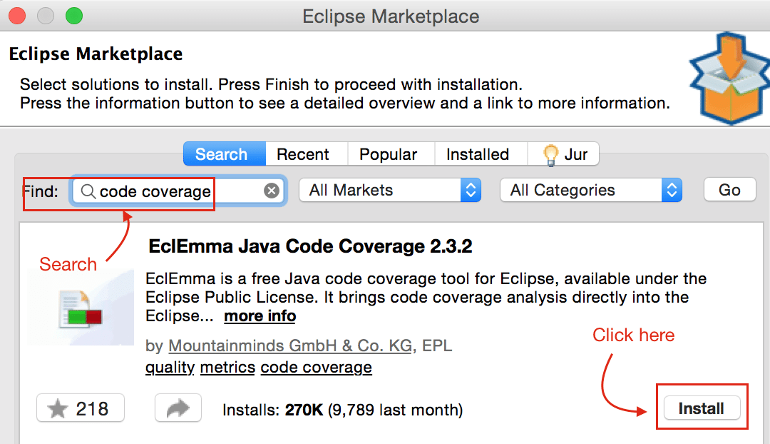 Search for Code Coverage Eclipse Plugin - Crunchify