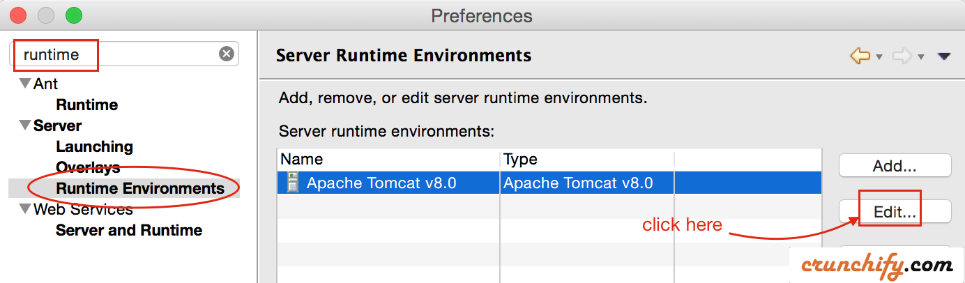Select Apache Tomcat Runtime Environments