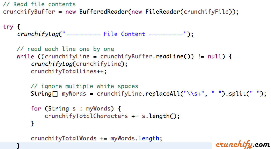 How to read File in Java and Count total number of Characters, Words and Lines